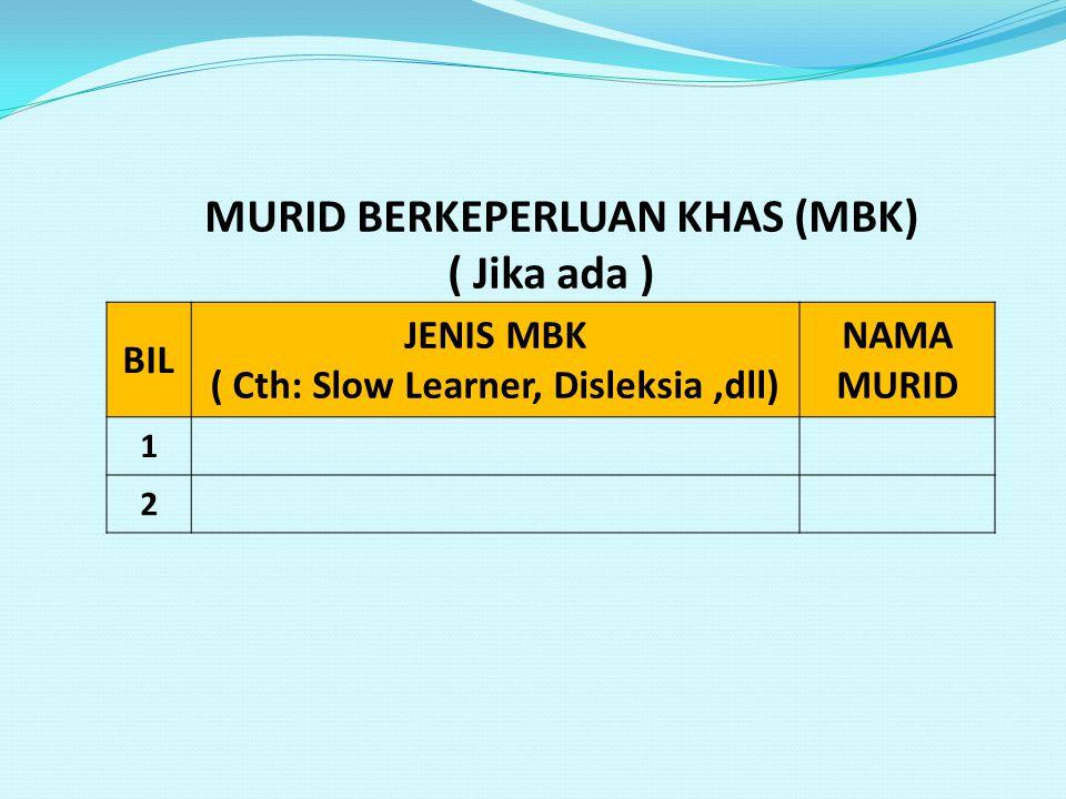 MURID BERKEPERLUAN KHAS (MBK) ( Cth: Slow Learner, Disleksia ,dll)
