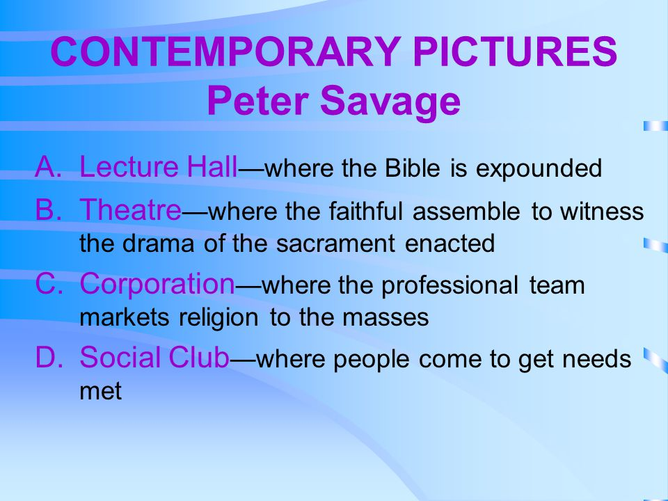 CONTEMPORARY PICTURES Peter Savage