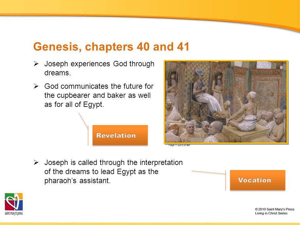 Genesis, chapters 40 and 41 Joseph experiences God through dreams.