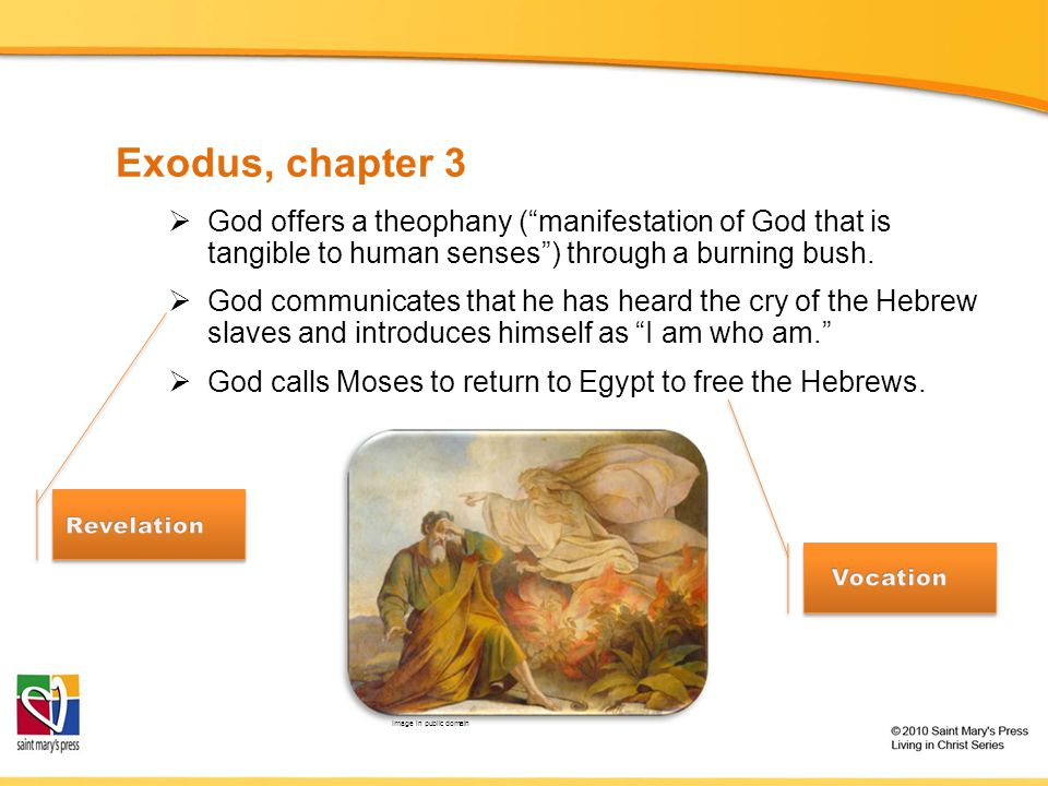 Exodus, chapter 3 God offers a theophany ( manifestation of God that is tangible to human senses ) through a burning bush.
