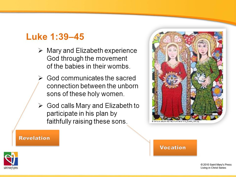 Luke 1:39–45 Mary and Elizabeth experience God through the movement of the babies in their wombs.