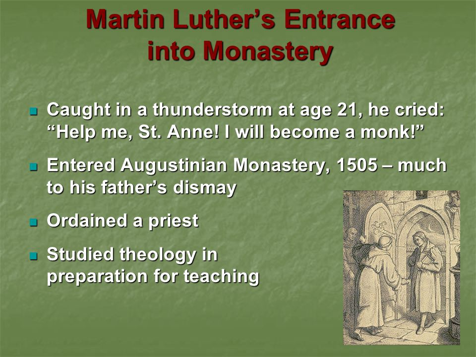 Martin Luther's Entrance into Monastery