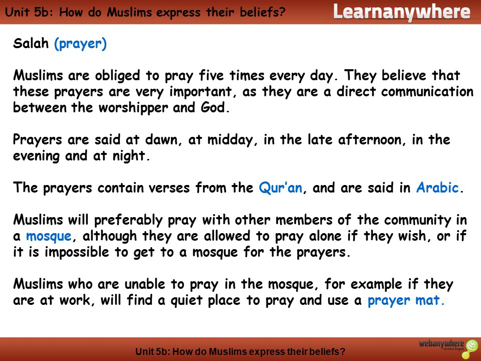 Unit 5b: How do Muslims express their beliefs