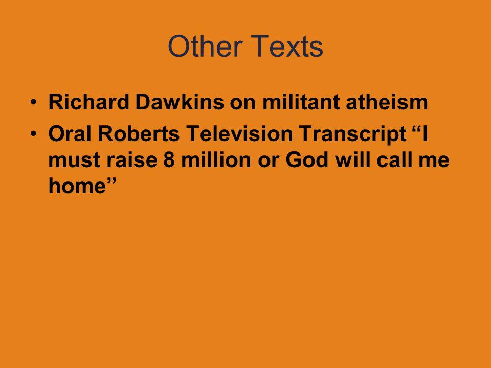 Other Texts Richard Dawkins on militant atheism