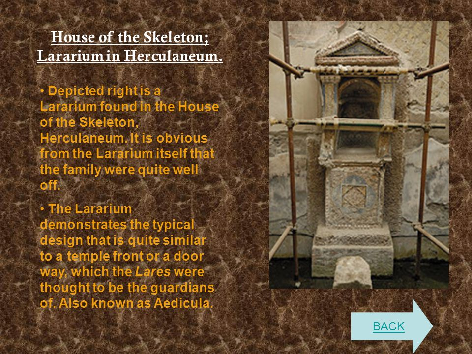 House of the Skeleton; Lararium in Herculaneum.