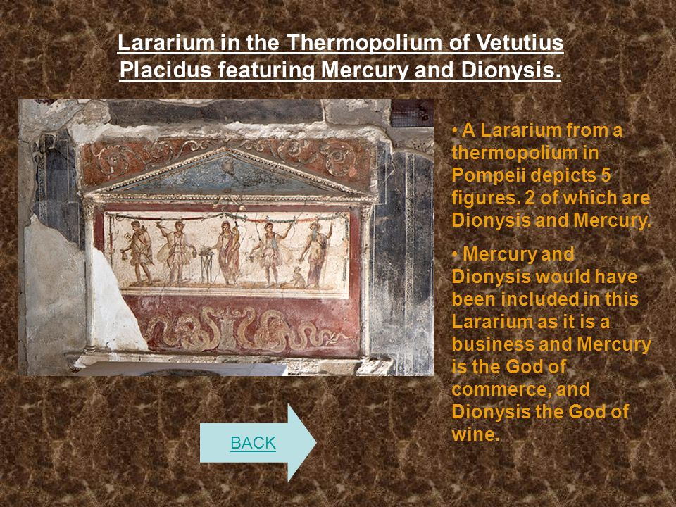 Lararium in the Thermopolium of Vetutius Placidus featuring Mercury and Dionysis.