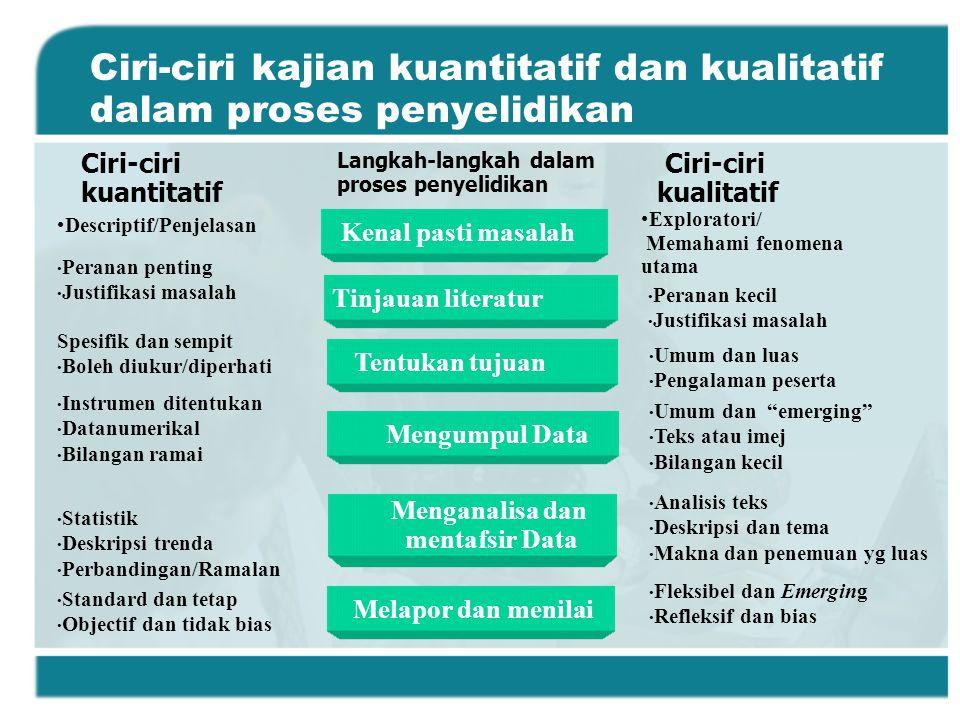 Ciri-ciri kajian kuantitatif dan kualitatif dalam proses penyelidikan