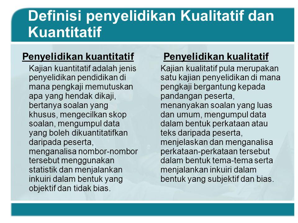Definisi penyelidikan Kualitatif dan Kuantitatif