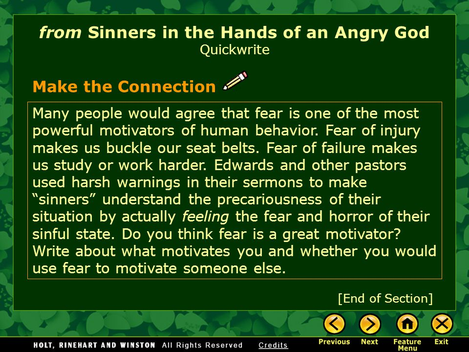 from Sinners in the Hands of an Angry God Quickwrite