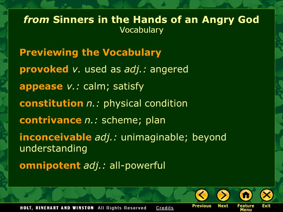 Sinners of an Angry God