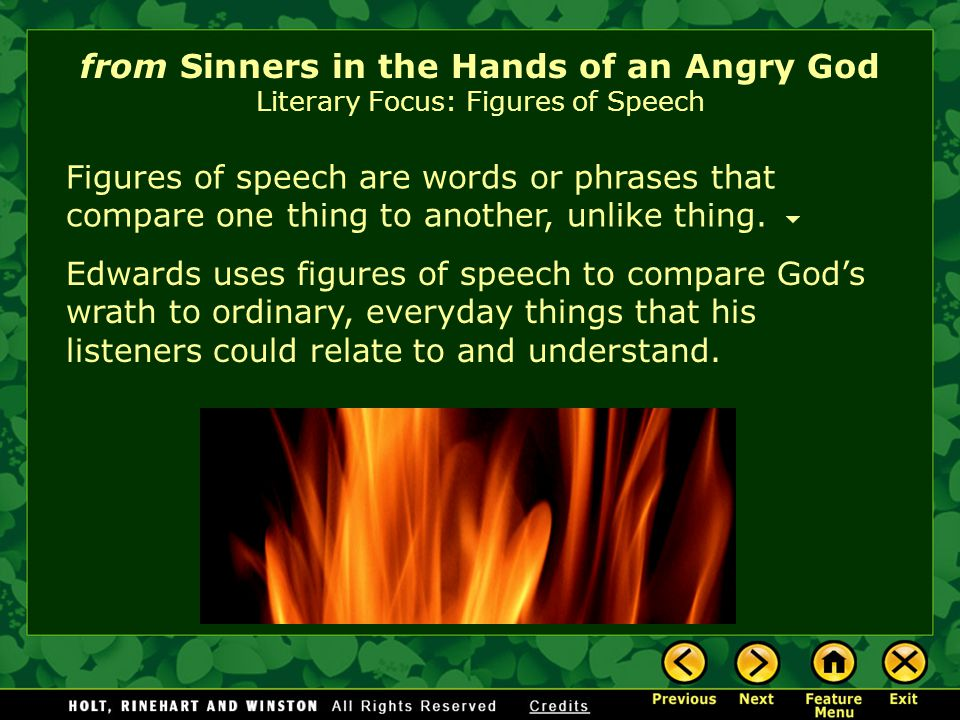 from Sinners in the Hands of an Angry God Literary Focus: Figures of Speech