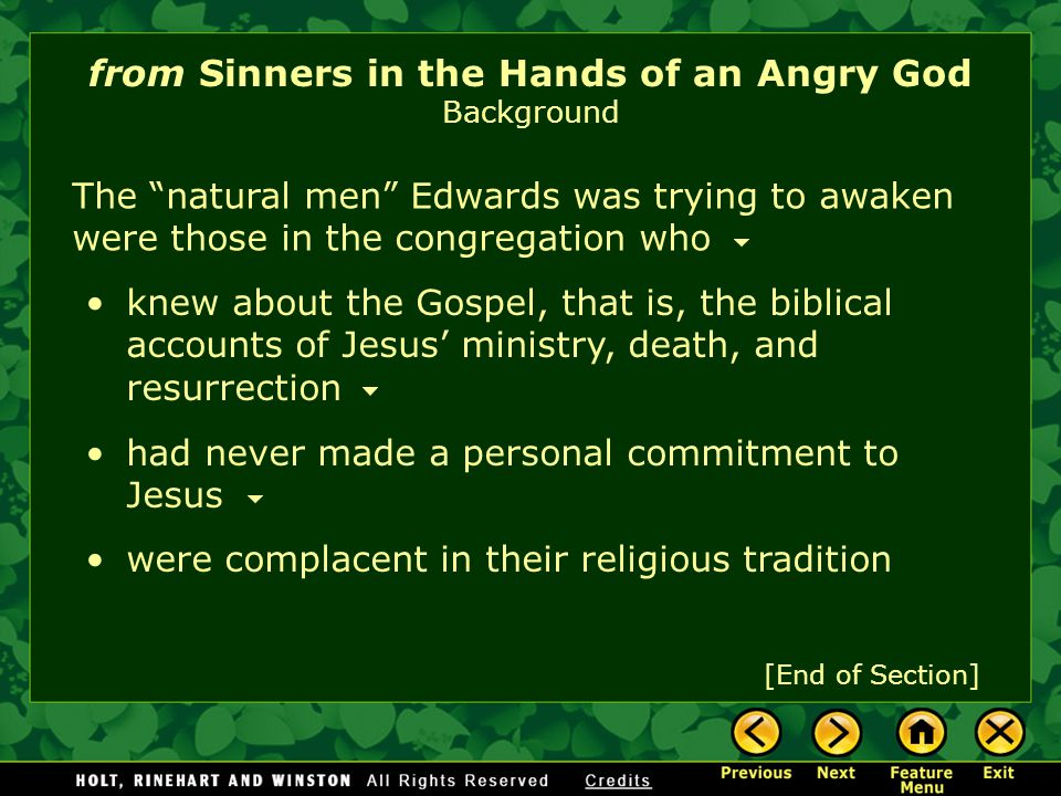 from Sinners in the Hands of an Angry God Background