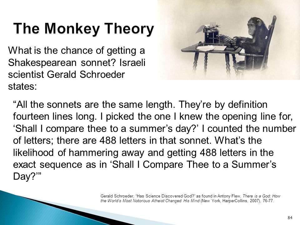 The Monkey Theory What is the chance of getting a Shakespearean sonnet Israeli scientist Gerald Schroeder states: