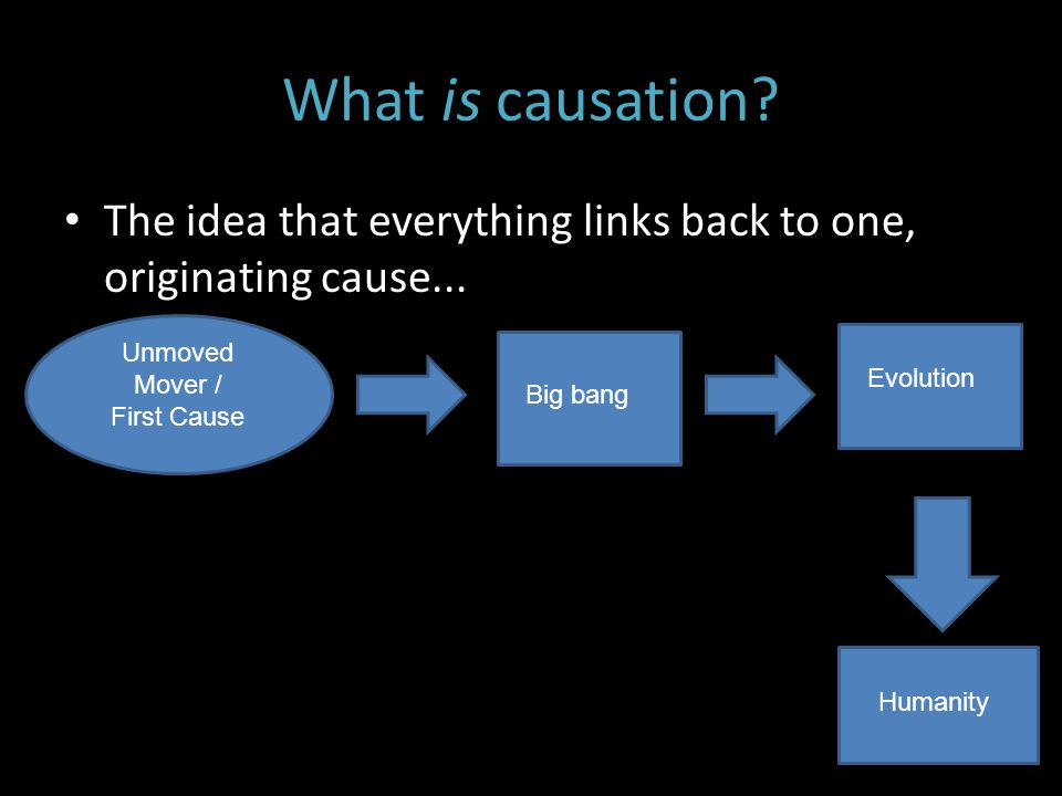 What is causation The idea that everything links back to one, originating cause... Unmoved Mover /