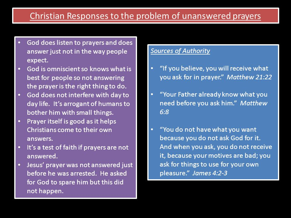 Christian Responses to the problem of unanswered prayers