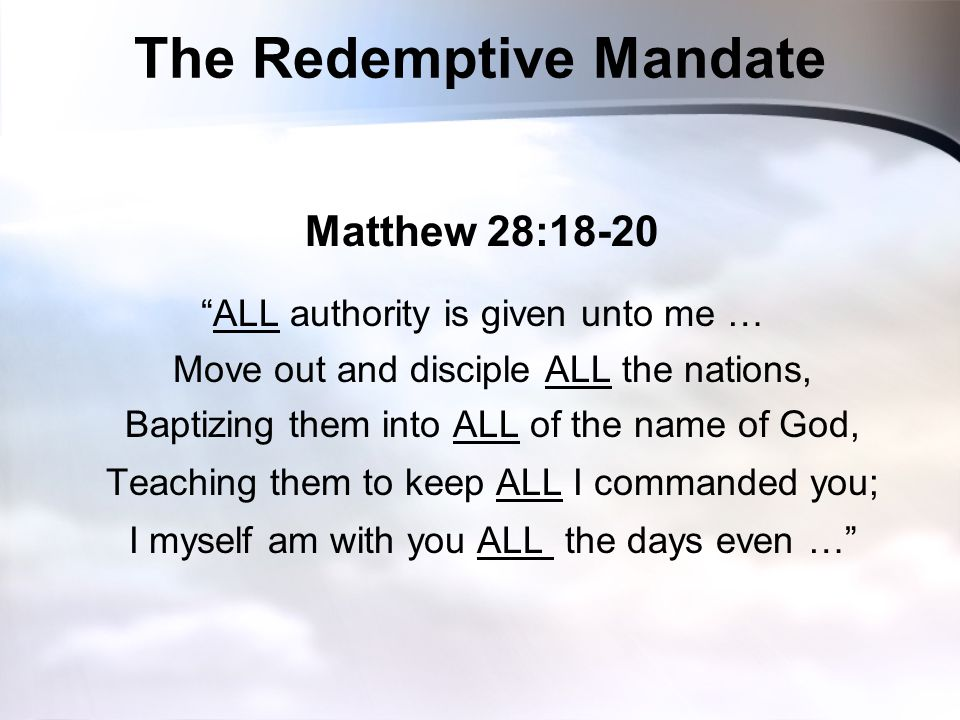 The Redemptive Mandate
