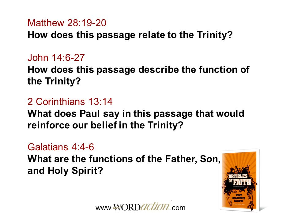 How does this passage relate to the Trinity