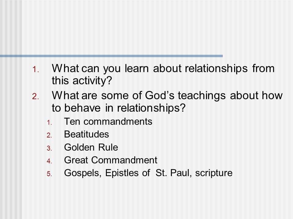 What can you learn about relationships from this activity