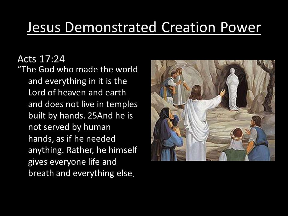 Jesus Demonstrated Creation Power