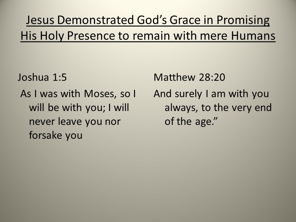 Jesus Demonstrated God's Grace in Promising His Holy Presence to remain with mere Humans