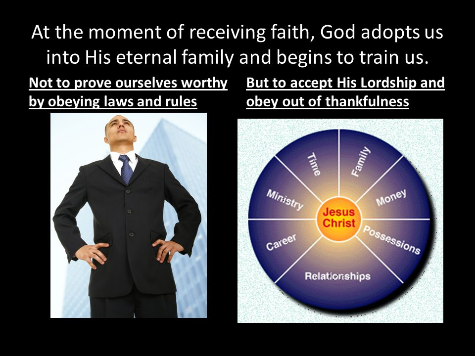 At the moment of receiving faith, God adopts us into His eternal family and begins to train us.