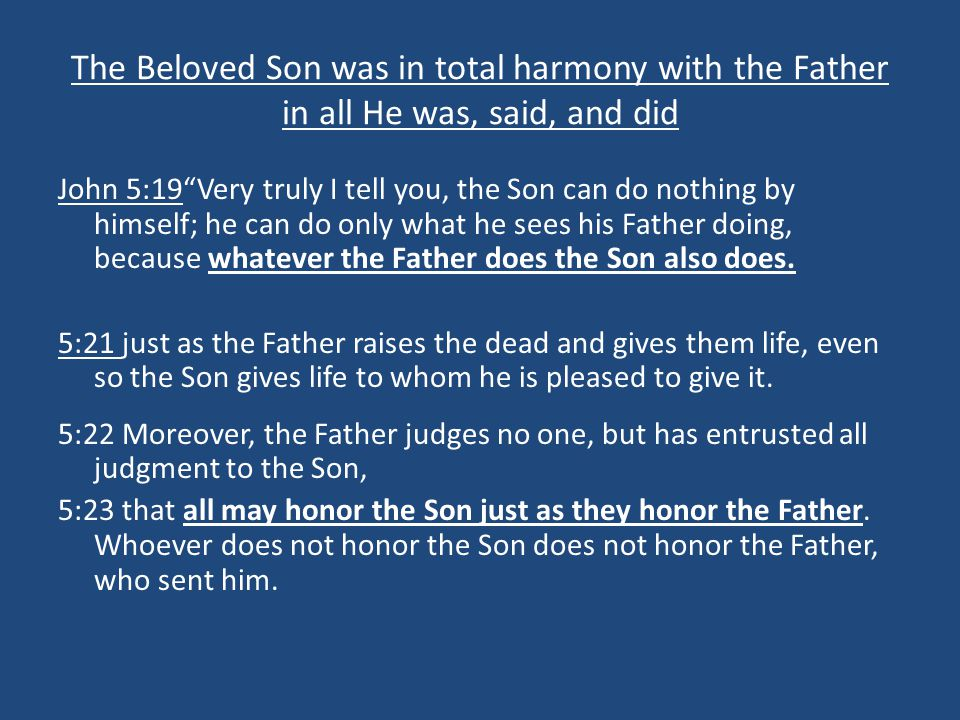 The Beloved Son was in total harmony with the Father in all He was, said, and did
