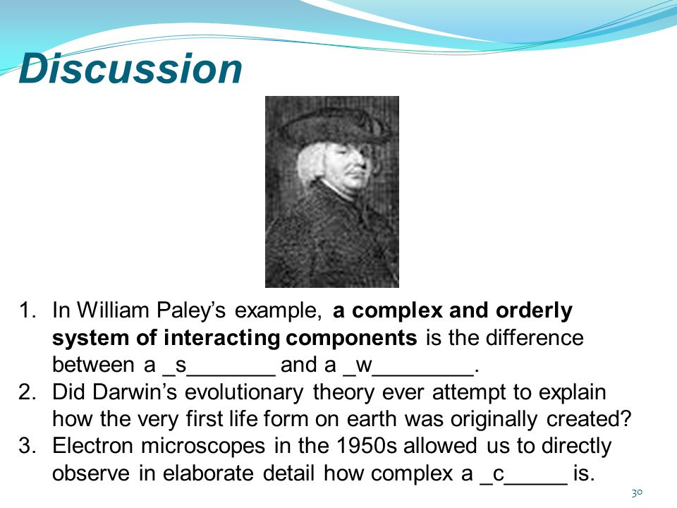Discussion In William Paley's example, a complex and orderly system of interacting components is the difference between a _s_______ and a _w________.