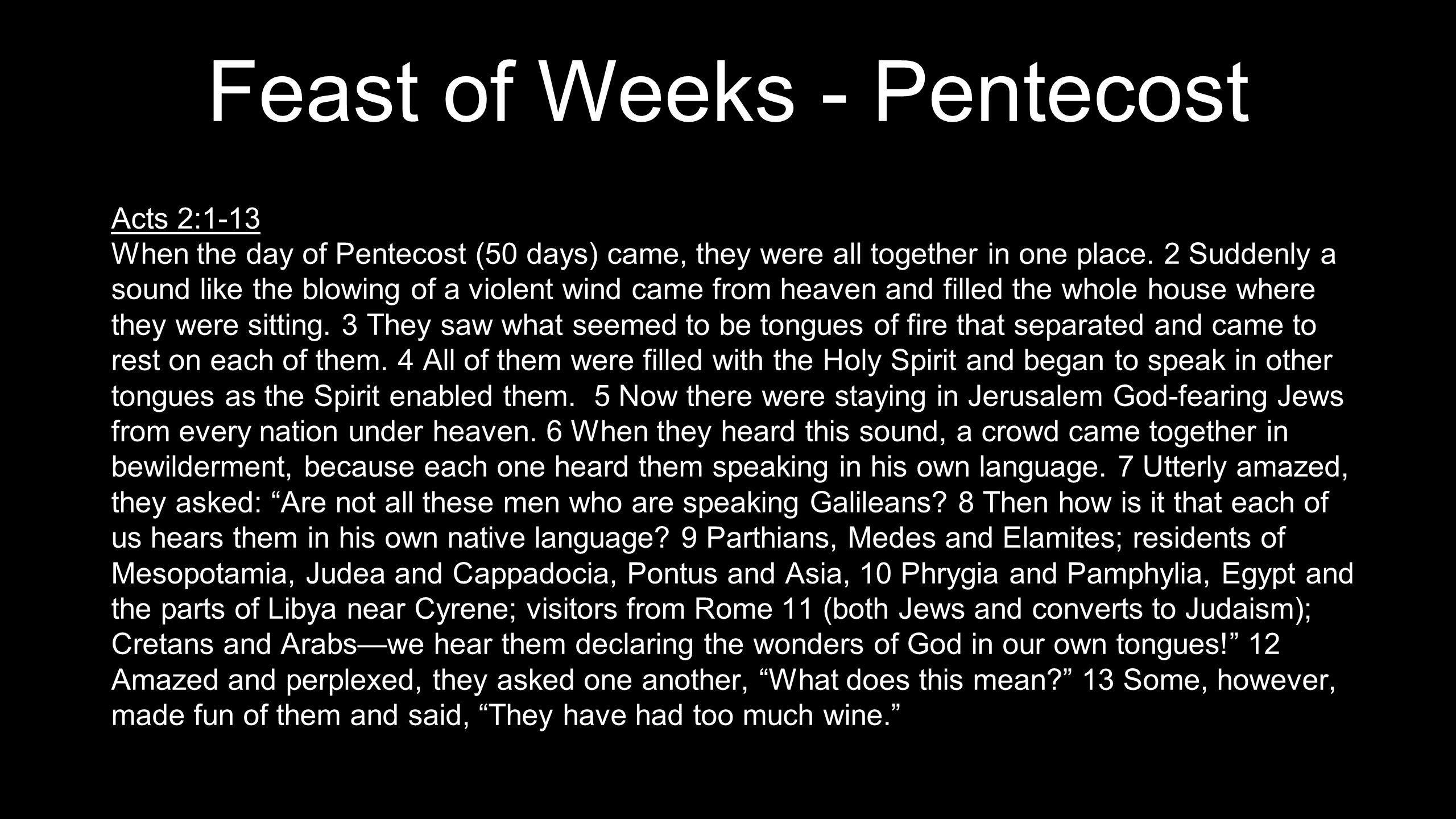 Feast of Weeks - Pentecost