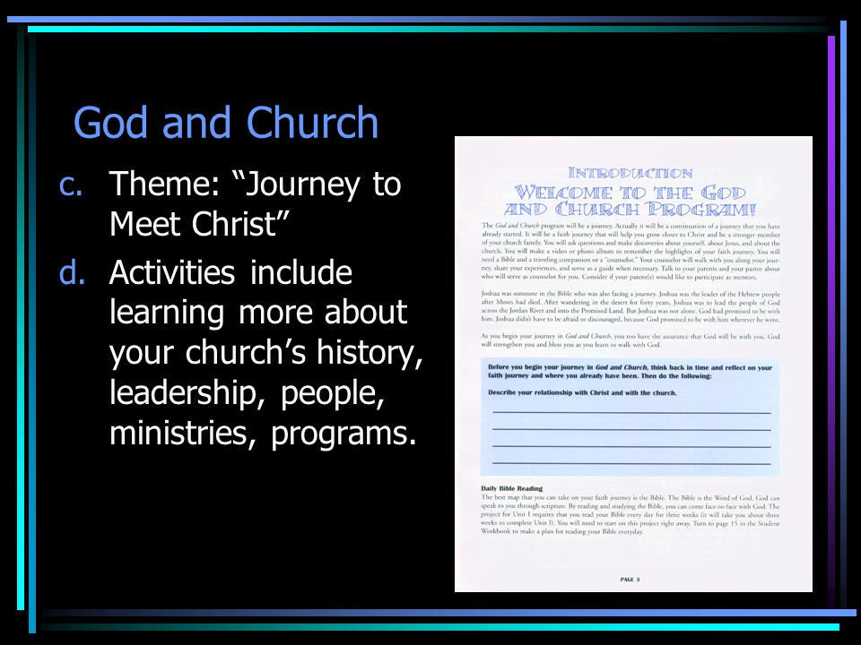 God and Church Theme: Journey to Meet Christ