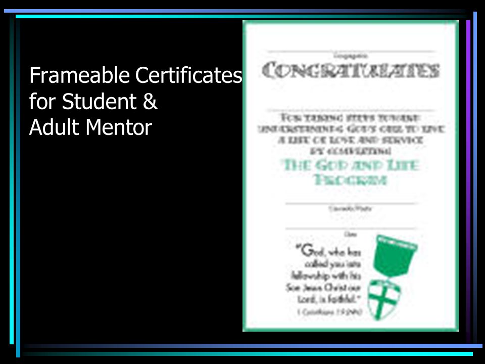 Frameable Certificates for Student & Adult Mentor