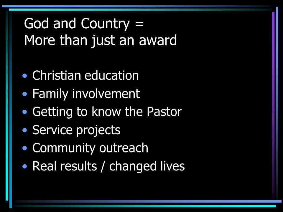 God and Country = More than just an award