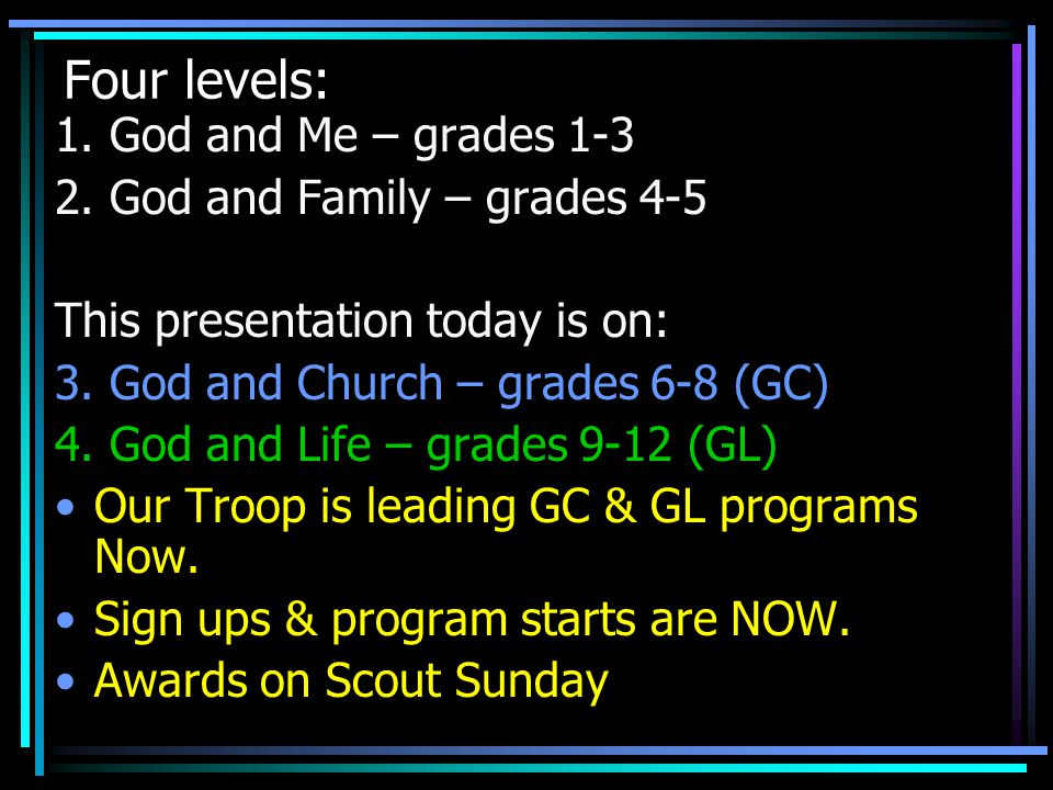 Four levels: 1. God and Me – grades 1-3 2. God and Family – grades 4-5