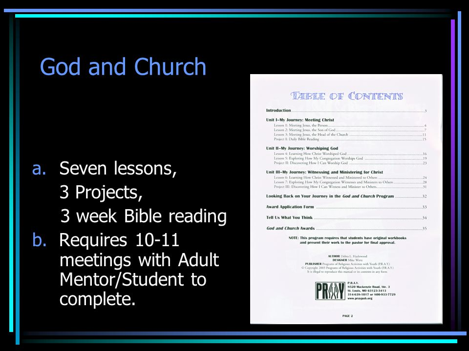 God and Church Seven lessons, 3 Projects, 3 week Bible reading