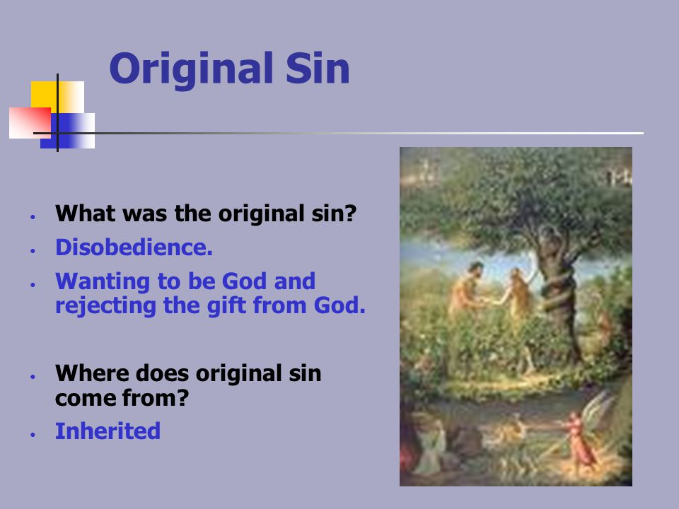 Original Sin What was the original sin Disobedience.