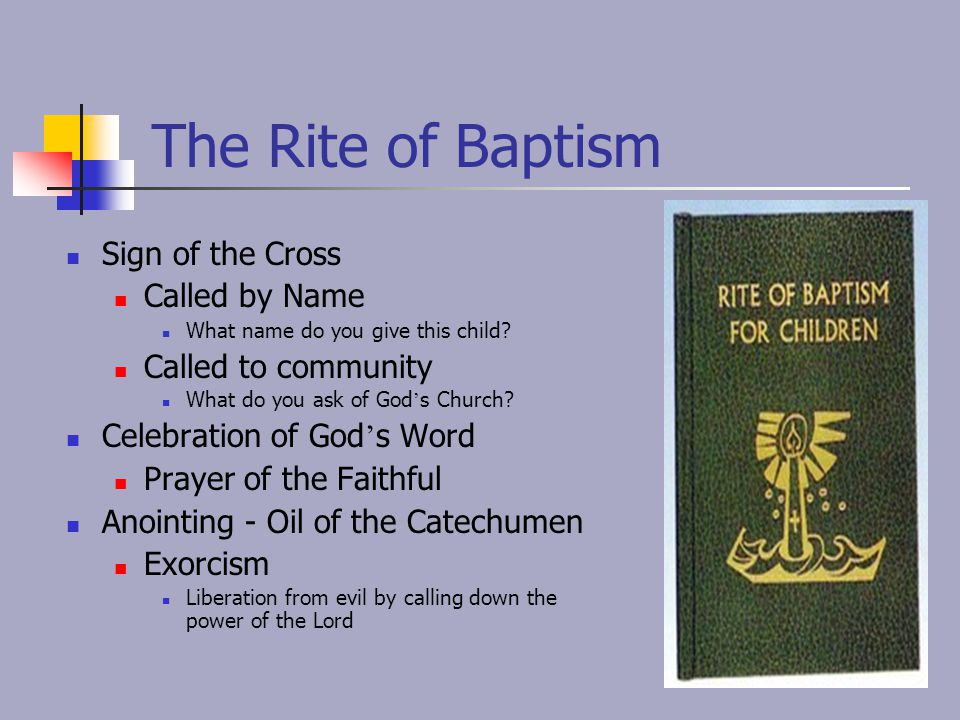 The Rite of Baptism Sign of the Cross Called by Name