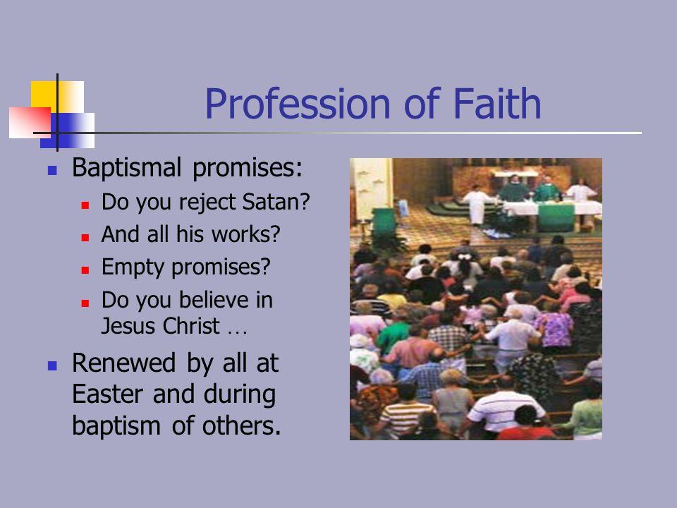 Profession of Faith Baptismal promises:
