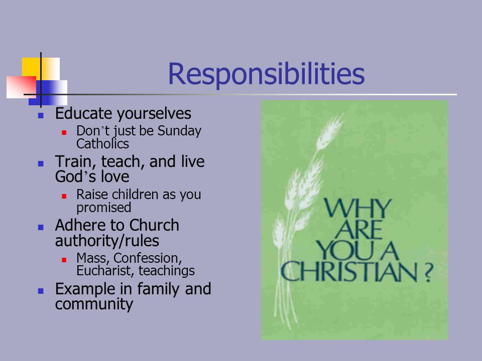 Responsibilities Educate yourselves Train, teach, and live God's love