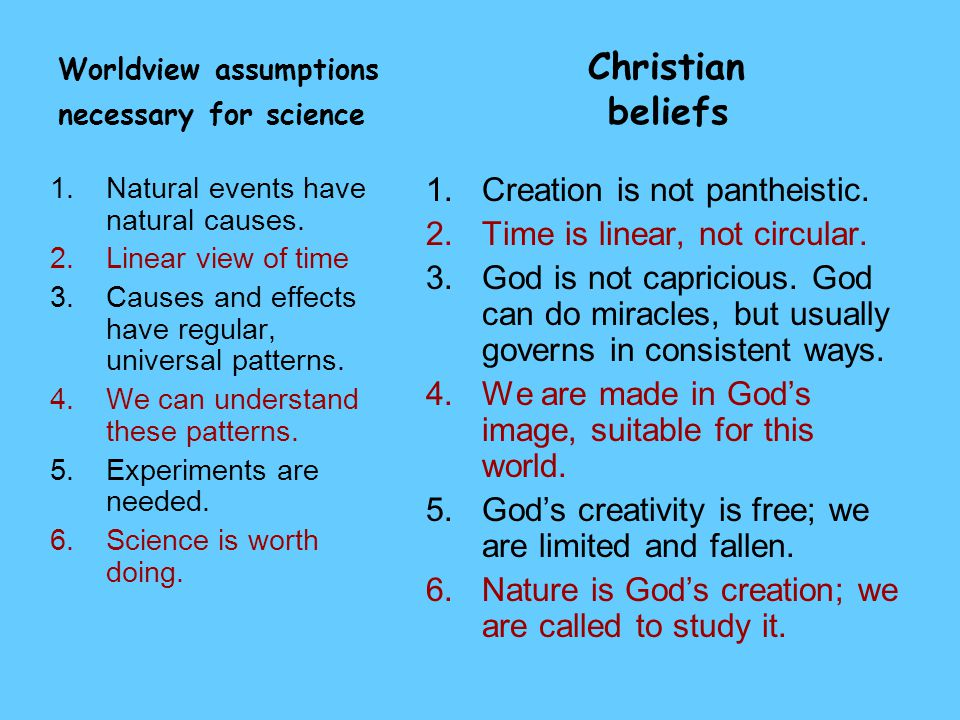 Worldview assumptions Christian necessary for science beliefs