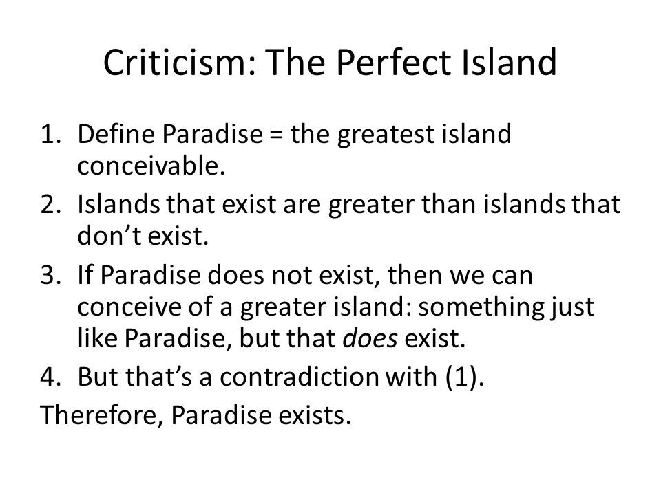 Criticism: The Perfect Island