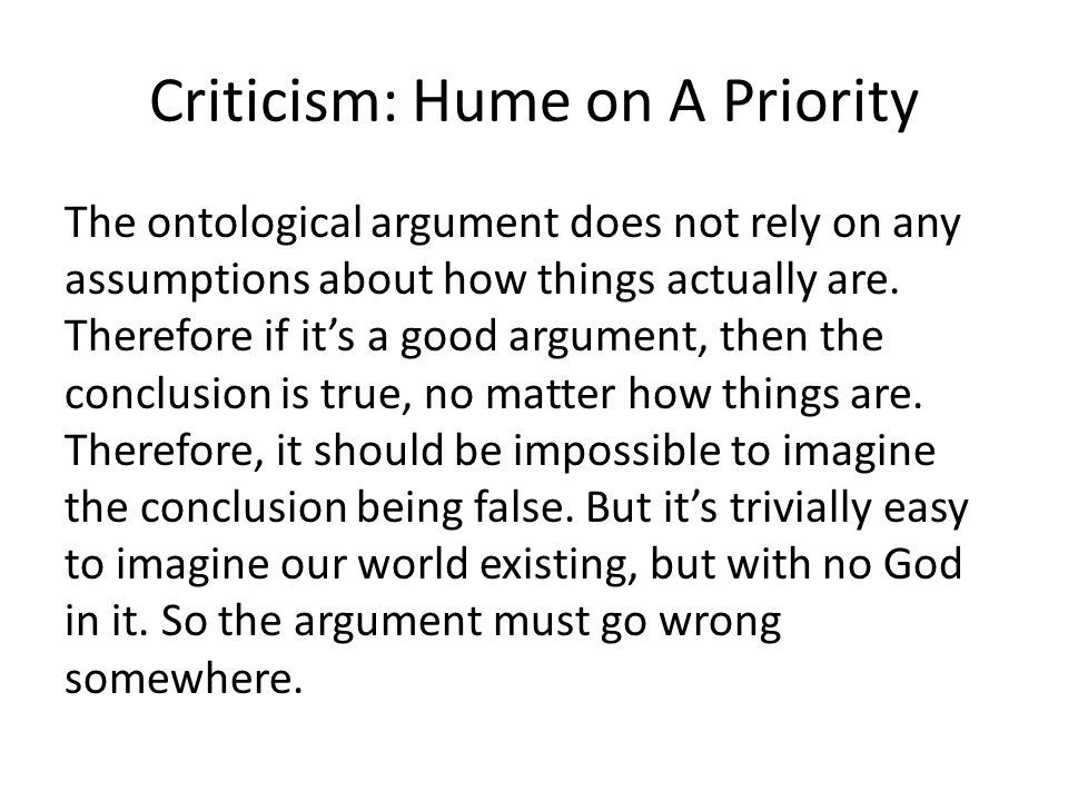 Criticism: Hume on A Priority