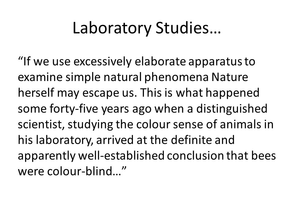 Laboratory Studies…