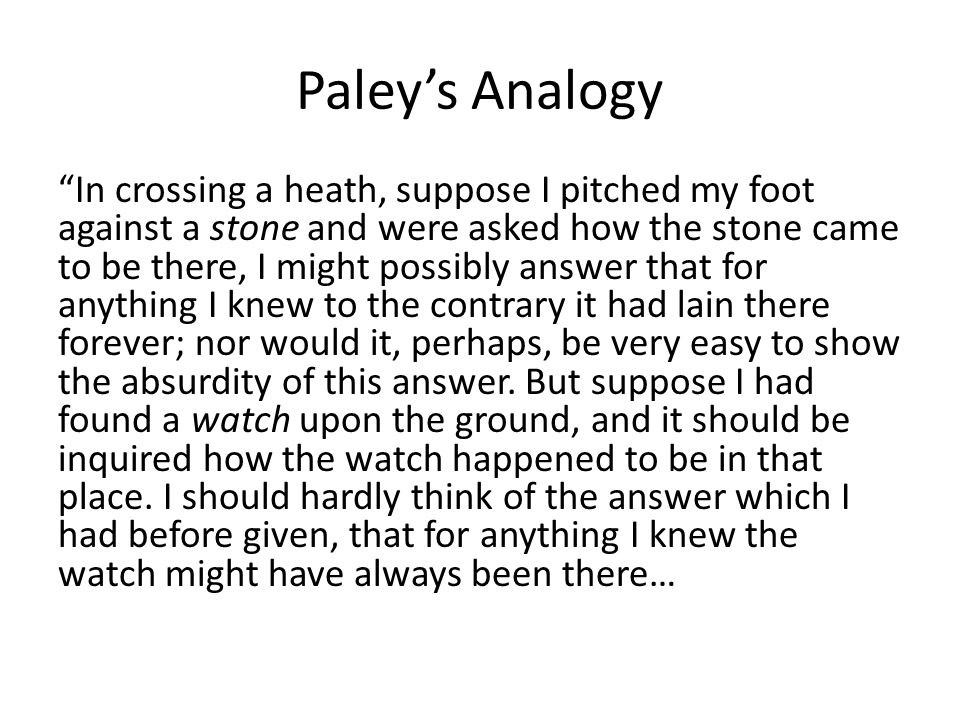 Paley's Analogy