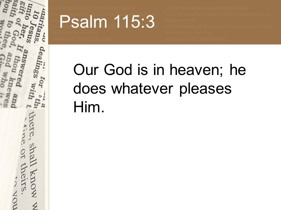 Psalm 115:3 Our God is in heaven; he does whatever pleases Him.