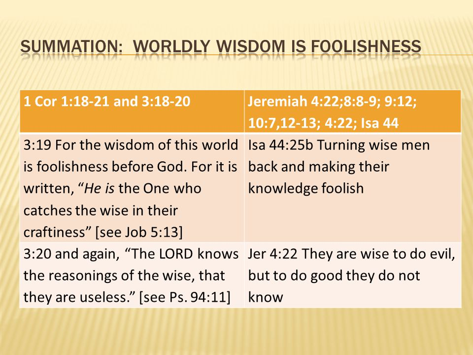 Summation: worldly wisdom is foolishness