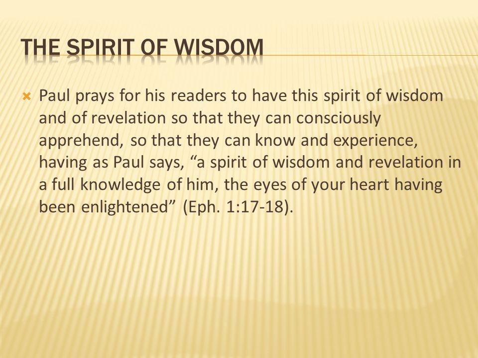 The spirit of wisdom