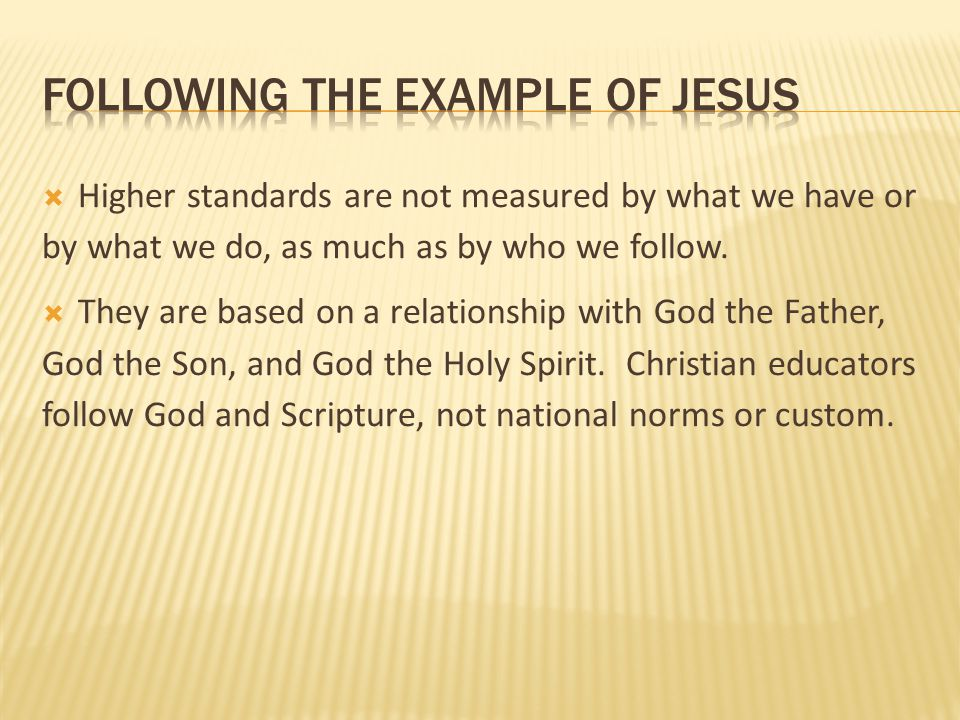following the example of jesus