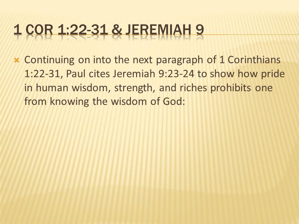 1 cor 1:22-31 & Jeremiah 9