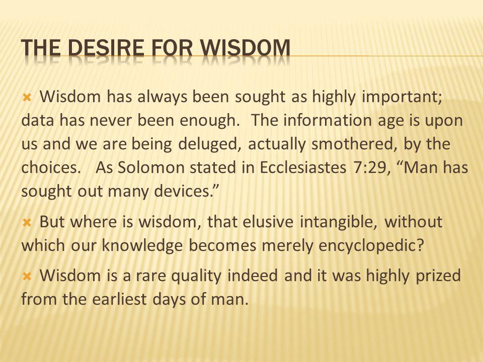 the desire for wisdom