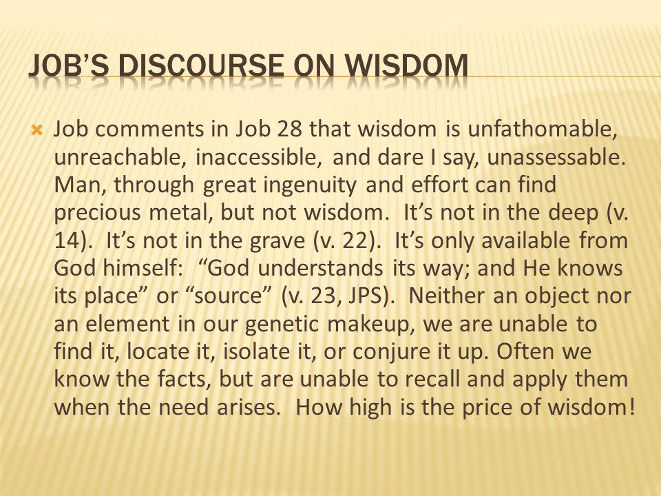 job's discourse on wisdom