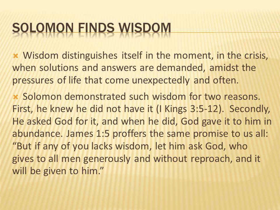 solomon finds wisdom